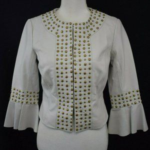 ❤️CACHE Ivory Short Leather Brass Studded Jacket